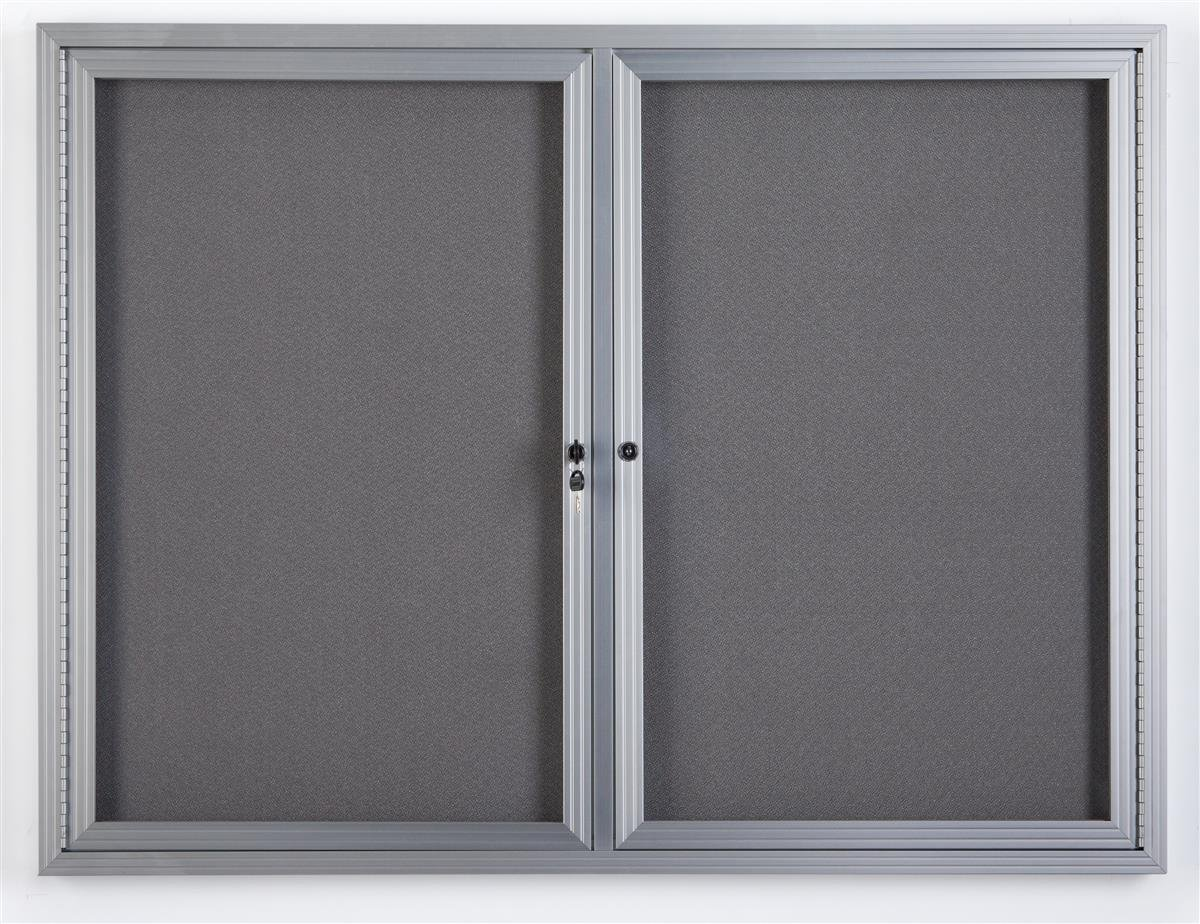 Displays2go 48'' x 36'' Wall Mounted Enclosed Bulletin Board with 2 Doors, Locking, Aluminum (FBSW43SVLG)