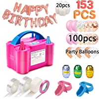 Balloon Pump, 153pcs Party Balloons 12 Inches Kit (100 Pack), Portable Dual Nozzle 110V 600W With Tying Tools, Colored Ribbon for Party Birthday Wedding Festival Balloon Arch Supplies, Decoration Accessory