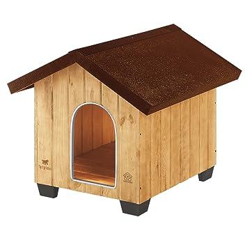 Feplast 87002000 Caseta de Exterior para Perros Domus Medium, Robusta Madera Ecosostenible, Pies de Plástico, Rejilla de Ventilación, 73 x 85 x 67.5 Cm: ...