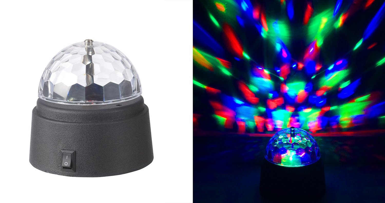 Rotating Crystal Ball Led Light Dome Battery Operated 3 5