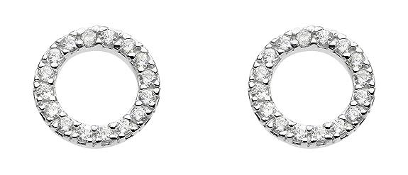 Dew Sterling Silver Open Circle Stud Earrings 3882CZ kf9Fro