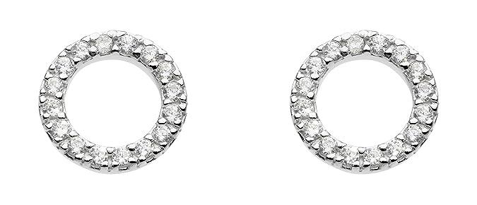 Dew Sterling Silver Open Circle Stud Earrings 3882CZ v7jkbrov