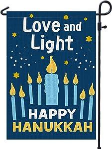 PAMBO Happy Hanukkah Garden Flag Vertical Double Sided, Burlap Flag for December Chanukah Decoration - Love and Light Menorah Jewish Holiday Garden Outdoor & Yard Decoration Flag 12.5
