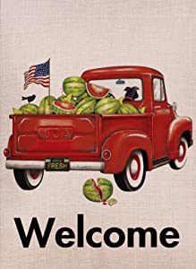 Selmad Summer Watermelon Garden Flag Double Sided Farm Vintage Red Truck, July 4 Burlap Decorative Dog House Yard Decoration, Patriotic Farmhouse Welcome Seasonal Outdoor Lab Décor 12 x 18 Spring