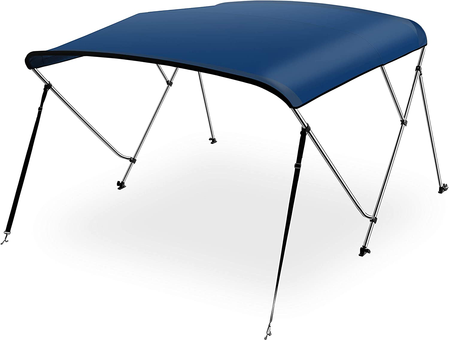 """SereneLife Waterproof Boat Bimini Top Cover - 67-72"""" W 3 Bow Bimini Top Canvas Sun Shade Boat Canopy 1"""" Double Wall Alu Frame Tube, 2 Straps 2 Rear Support Poles, Storage Boot SLBT3NAV672 (Navy Blue)"""