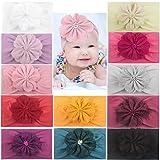 12PCS Baby Flower Headbands Handmade Flower Hair Bow Soft Nylon Hairbands Hair Accessories for Baby Girls Newborns Toddlers Infants