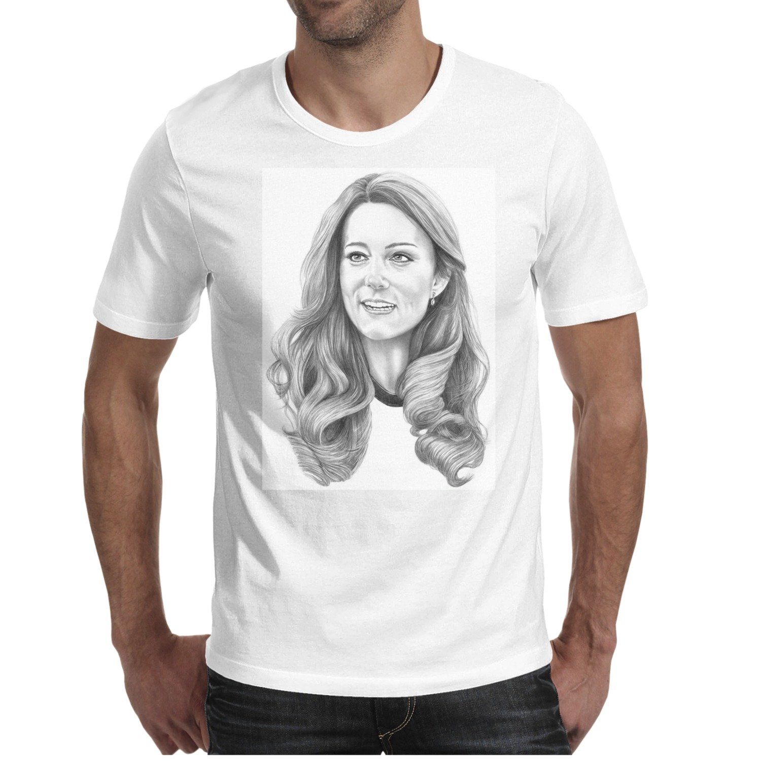 QQPPIG Kate Middleton Catherine Duchess Of Cambridge Mens Short Sleeve 100 %Cotton Tshirts
