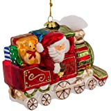 Kurt Adler Noble Gems Glass Santa on Christmas Train Ornament, 5.5-Inch