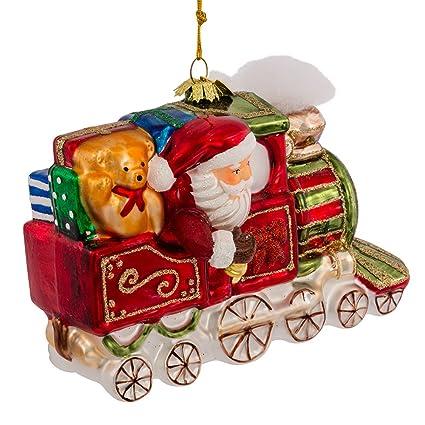 noble gems kurt adler glass santa on christmas train ornament 55 inch - Kurt Adler Christmas