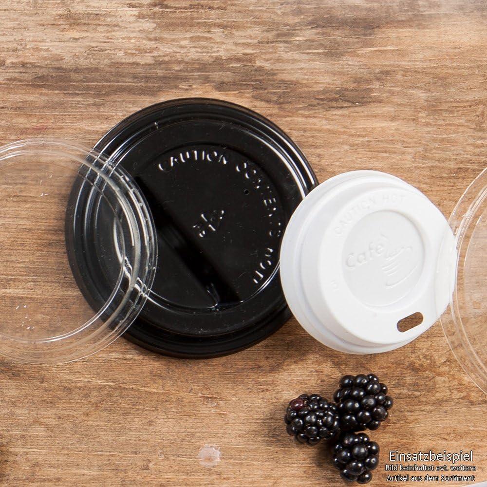 kompostierbar recycelbar I Trinkloch Becherdeckel flach schwarz BIOZOYG Coffee to Go Deckel f/ür Trinkbecher /Ø 80mm I 100 Deckel f/ür Pappbecher aus CPLA Biokunststoff 100/% biologisch abbaubar