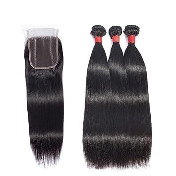 Amazon com : Straight Hair 3 Bundles With Closure Peruvian