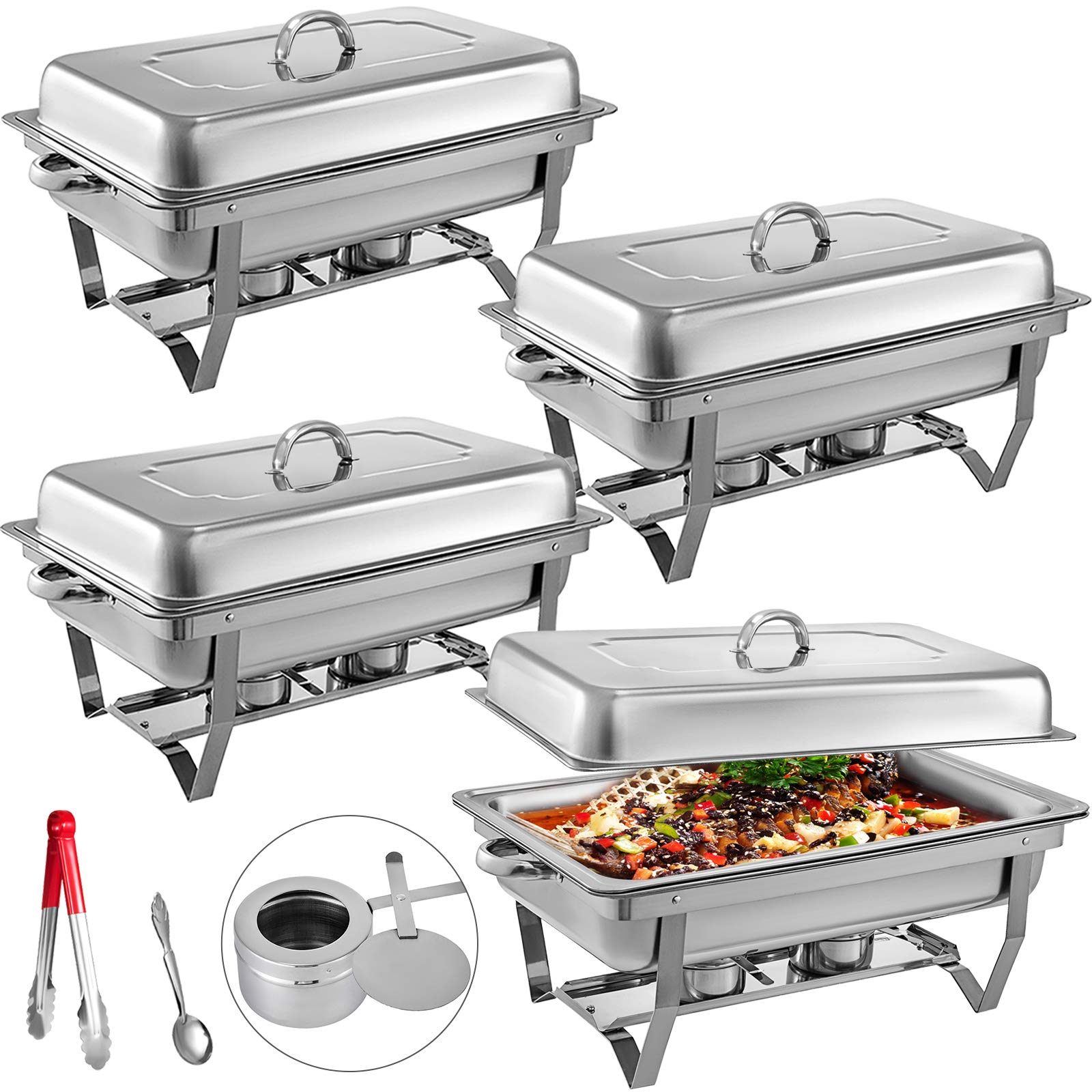 Mophorn Chafing Dish 4 Packs 8 Quart Stainless Steel Chafer Full Size Rectangular Chafers for Catering Buffet Warmer Set with Folding Frame by Mophorn