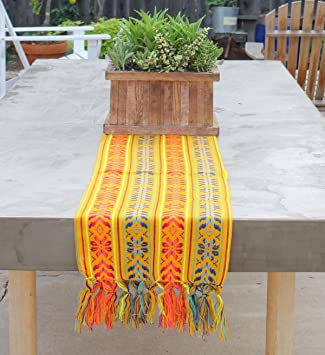 Del Mex Woven Rebozo Style Mexican Table Runner Scarf (Yellow)