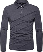 OSTELY Men's Shirt Autumn Winter Casual Patchwork Stripe Button Long Sleeve Top Blouse (,)