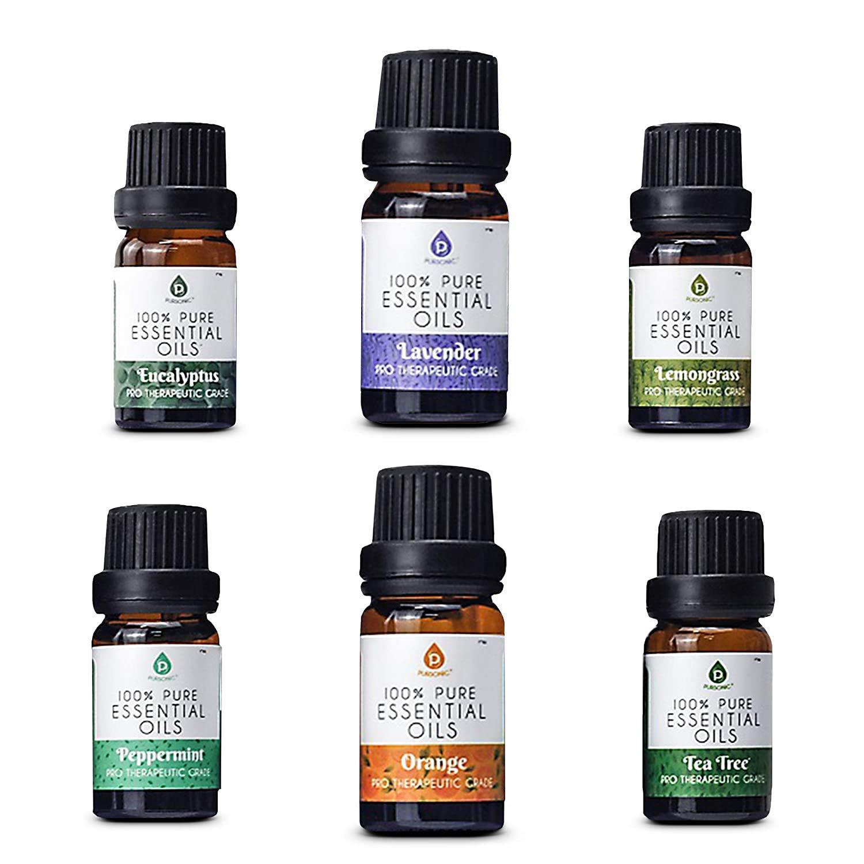Pursonic 100% Pure Essential Aromatherapy Oils Gift Set-6 Pack , 10ML(Eucalyptus, Lavender, Lemon grass, Orange, Peppermint, Tea Tree)