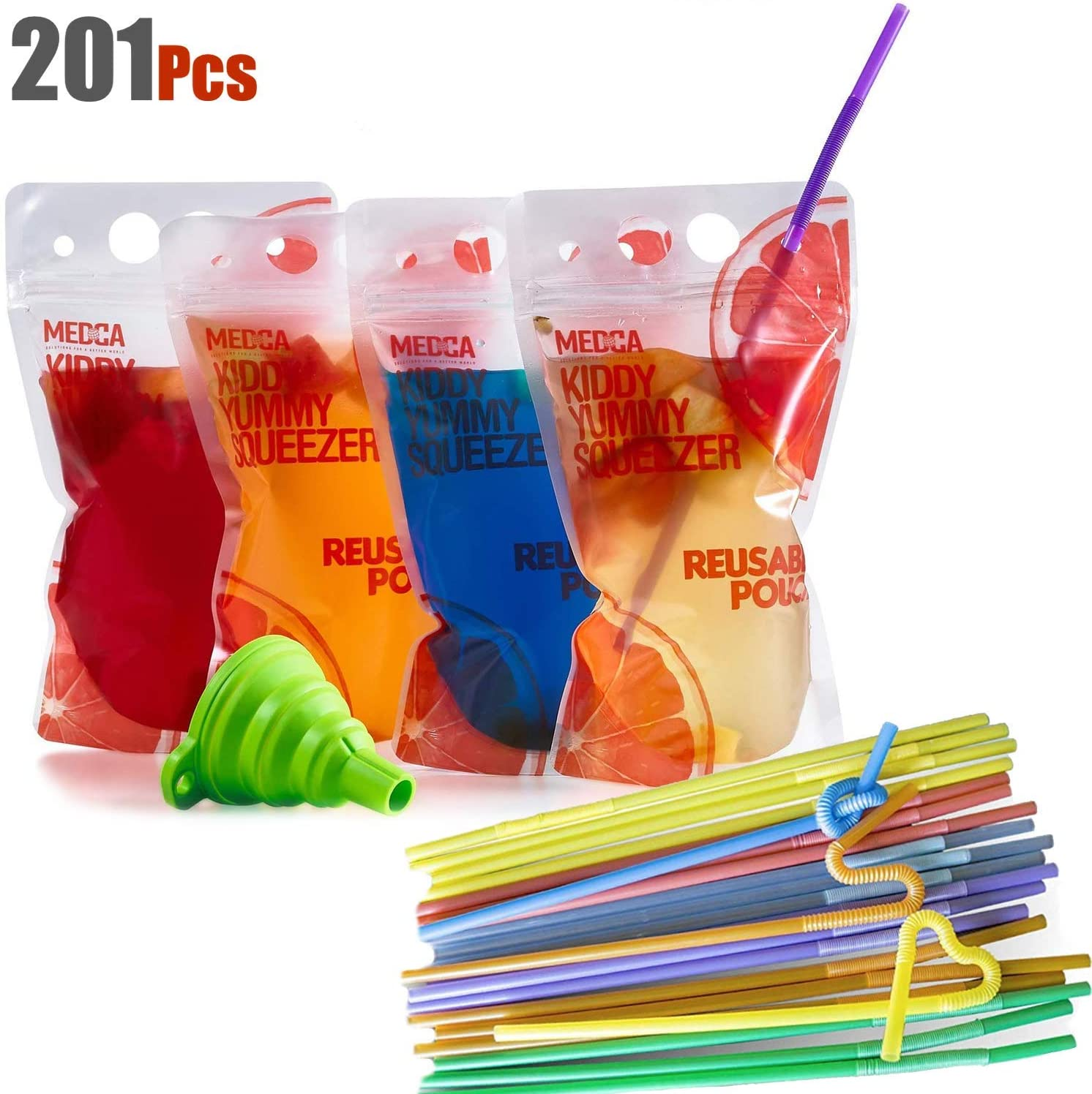 Reusable Drink Pouches - (201 Piece Set) 100 Clear Drink Bags + 100 Straws - Double Zipper Reusable Smoothie Juice, Clear Zipper Pouch Storage Bags NO LEAKS and Environmentally Friendly & BPA Free