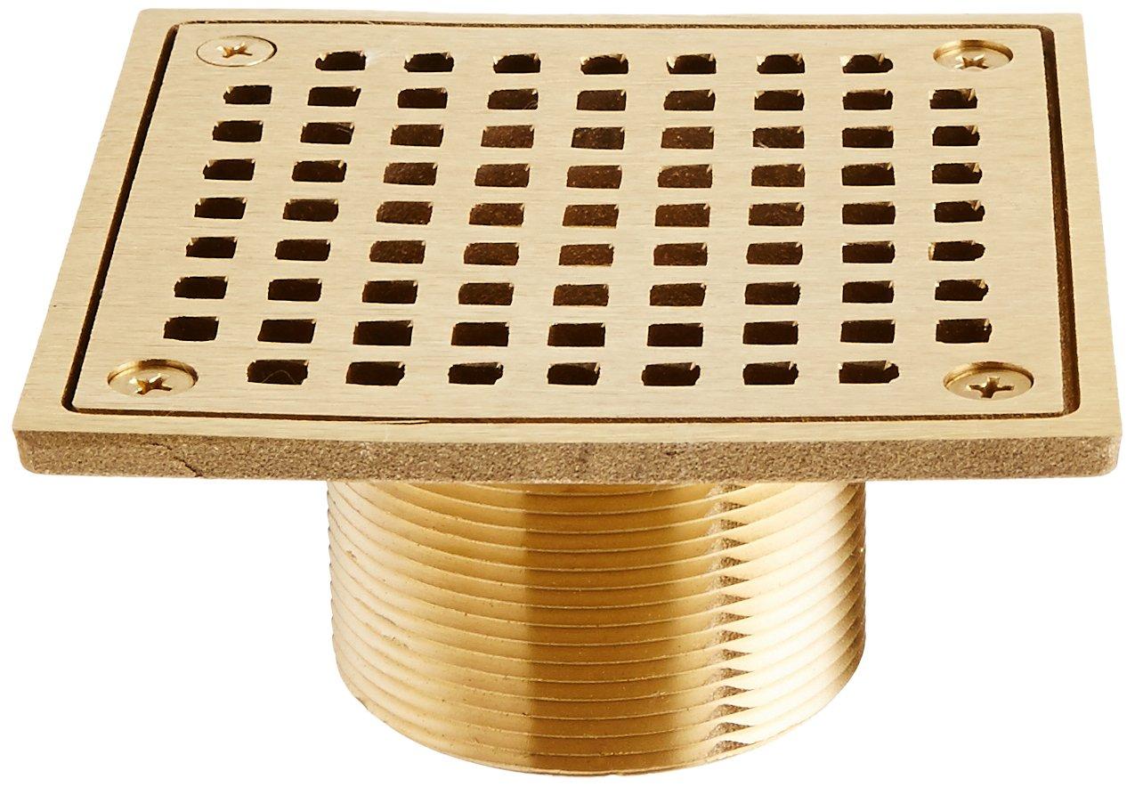 Jones Stephens D6094PB 4'' Polished Brass Lacquer Coat Square Spud Strainer