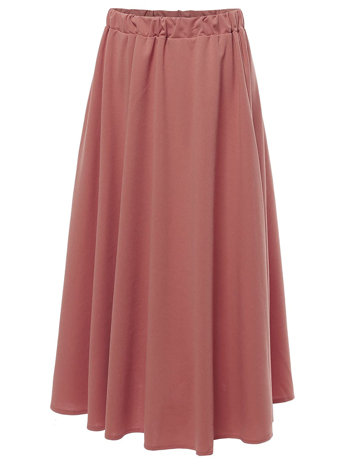 Aawskm0004 Mauve Awesome21 Women's Solid High Waist ALine Pleated Flare Skirt  Made in USA
