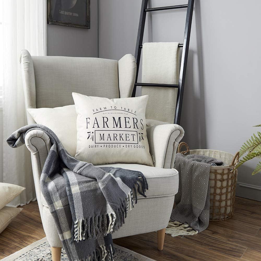Meekio Farmhouse Pillow Covers With Farmers Market Quotes 18 X 18 For Farmhouse Decor Housewarming Gifts Home Kitchen