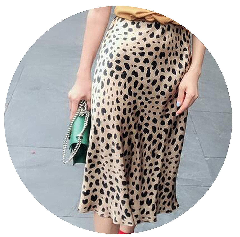 2ae56803830bb8 Rose Flowers Silk Satin Leopard Print Skirt Women Naomi Wild Things Elastic  High Waist Wild Side Easy 90'S Slip Midi Skirt at Amazon Women's Clothing  store: