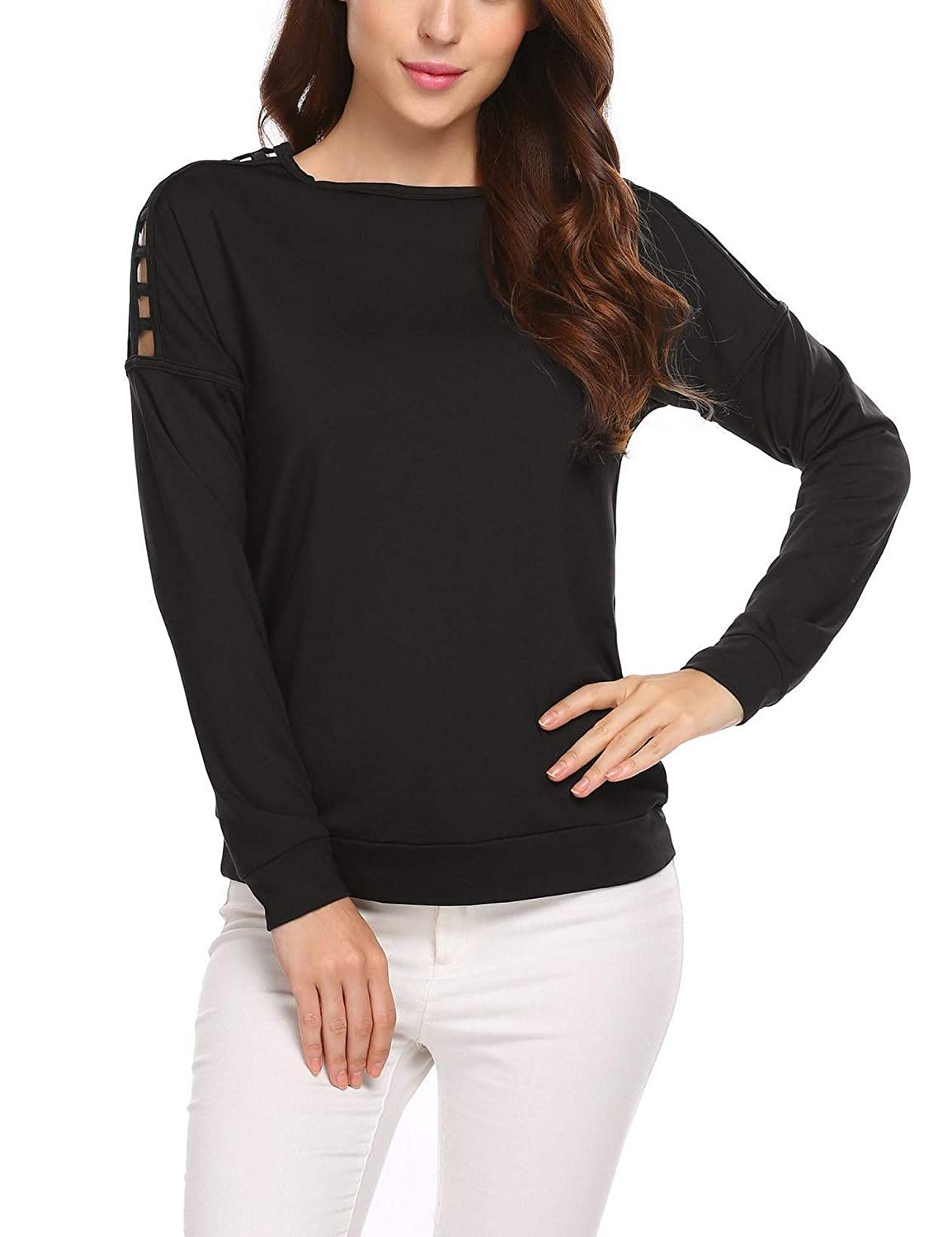 2black EASTHER Women's Cold Shoulder Blouse Long Sleeve Round Neck Causal Solid Cotton Tunic Tops