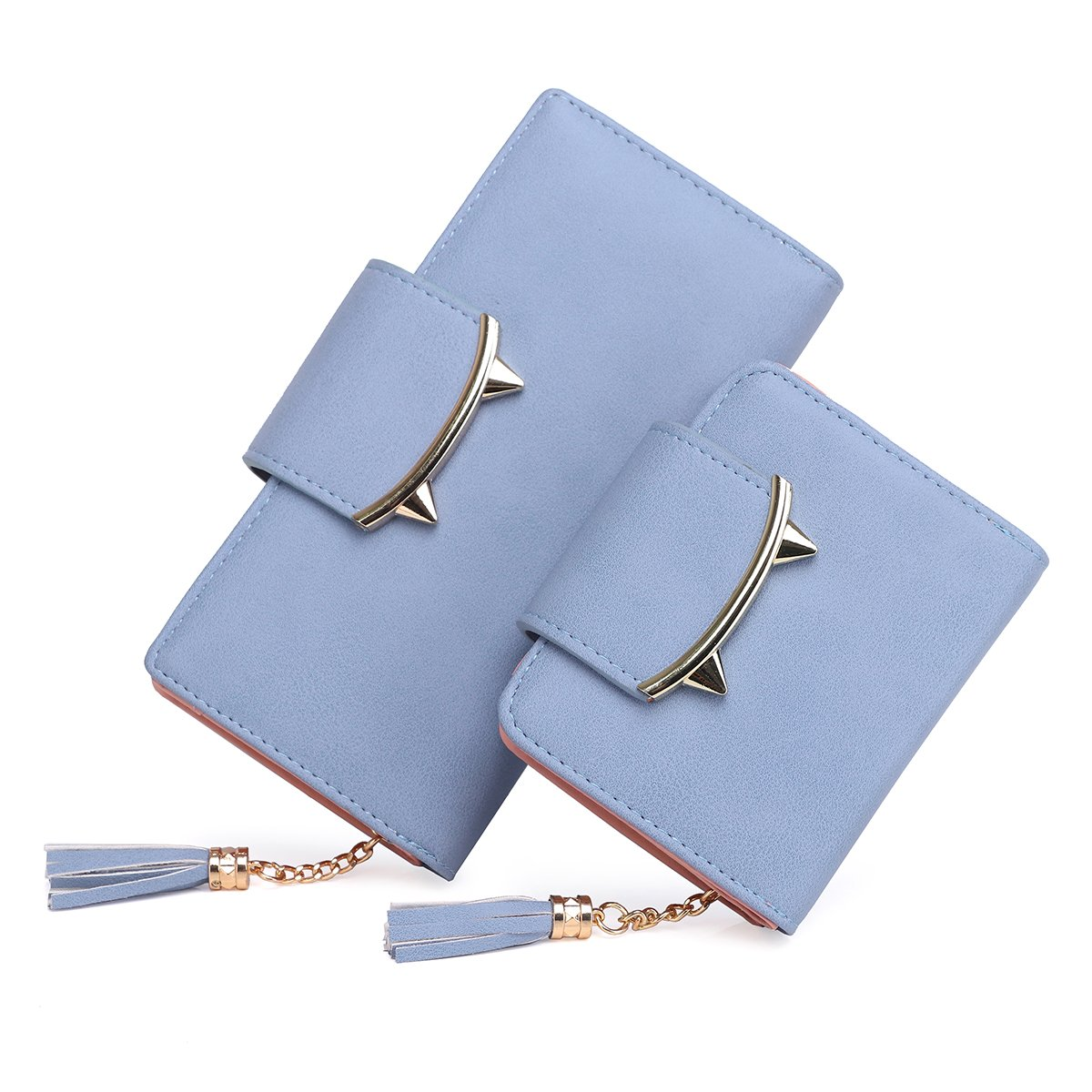 bluee Women's Adorable Cat Ears Coin Purse for Long Short Leather Wallet Money Clip Card Case (pair)