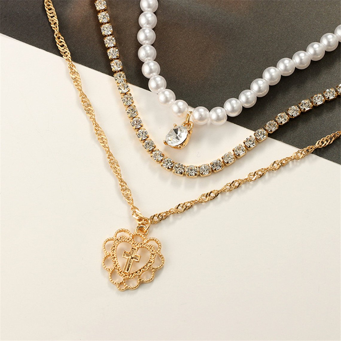 Rurah Women Imitation Pearls Necklace Jewelry Rhinestone Multi Layer Necklace Charm Pendant necklace