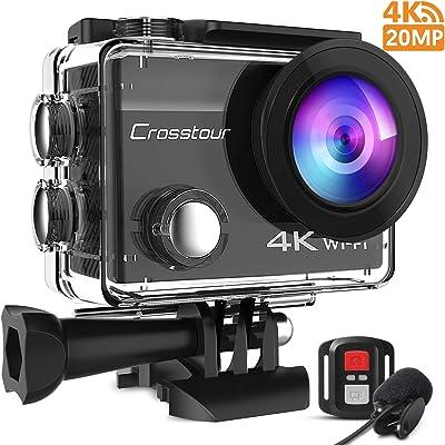 Crosstour 4K Caméra Sport 20MP Webcam WiFi Appareil Photo Étanche avec Microphone Externe Caméra Embarquée Stabilisateur Livrée avec 2 Batteries