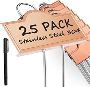 Metal Plant Labels Weatherproof 25 Pack, Outdoor Garden Markers Tags Rose Gold for Plants Vegetables Herb Seedlings Flowers with a Pen, Height 10.75 Inch, Label Area 3.74'' x 1.39''