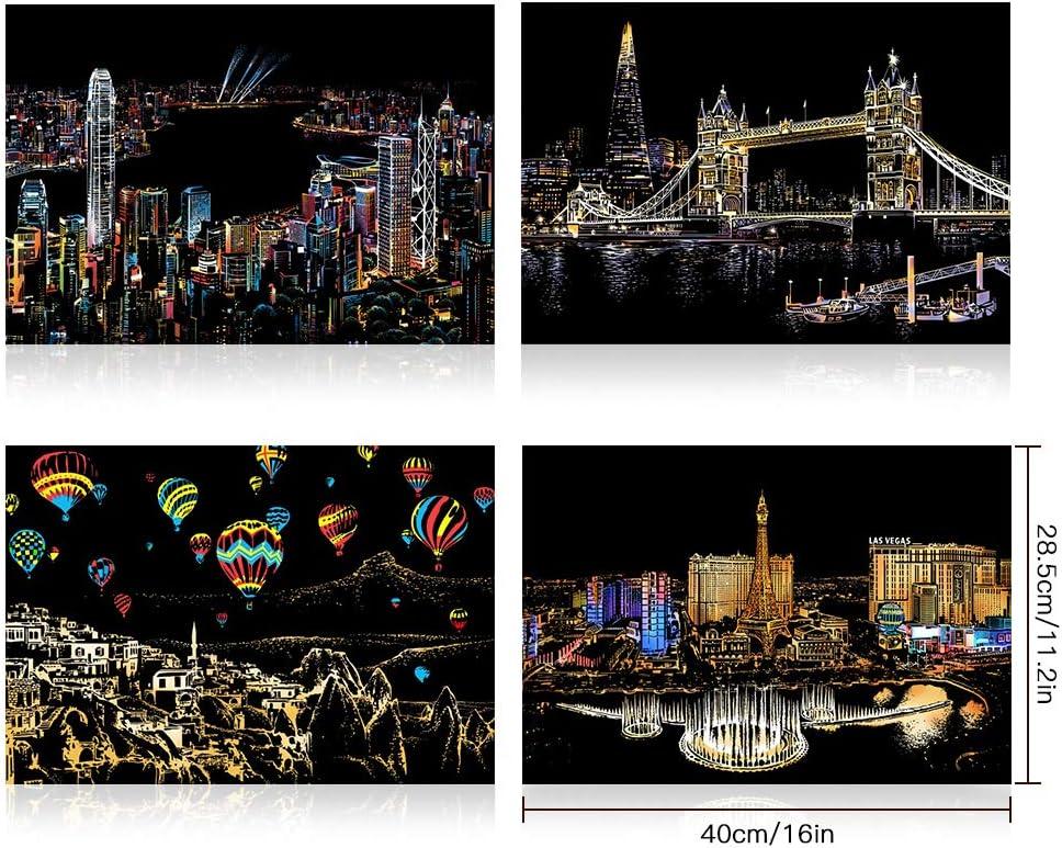 Soleebee Scratch Art Peinture Carte /à Gratter 40,5 x 28,5 cm Arc-En-Ciel Vue de Nuit Papier Dart /à Gratter Tableaux /à Gratter Dessins /à Gratter pour Adultes et Enfants Tour Eiffel//Big Ben