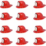 Firefighter Fire Helmet Plastic Chief Hat - Red Color Party Costume Theme Soft Fun Childs Hat Halloween Event Accessory (12 Pieces)