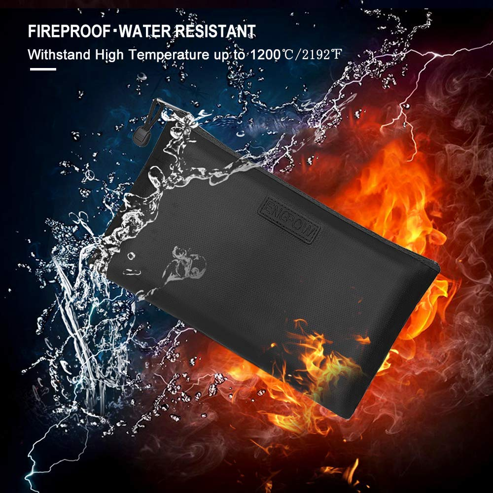 Fireproof Safe Money  Document Bag NON-ITCHY Silicone Coated Fire Water Resistant with Zipper for A5 Size File Folder Holder,Ipad,Money, Jewelry ,Passport,Diary
