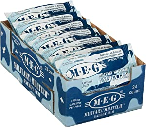 MEG - Military Energy Gum   100mg of Caffeine Per Piece + Increase Energy + Boost Physical Performance + Arctic Mint 24 Pack (120 Count)
