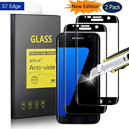 [2 Pack] Samsung Galaxy S7 Edge Screen Protector [Full Coverage], Alfort  0 3mm Premium Tempered Glass for Galaxy S7 Edge Protective Glass Flim,