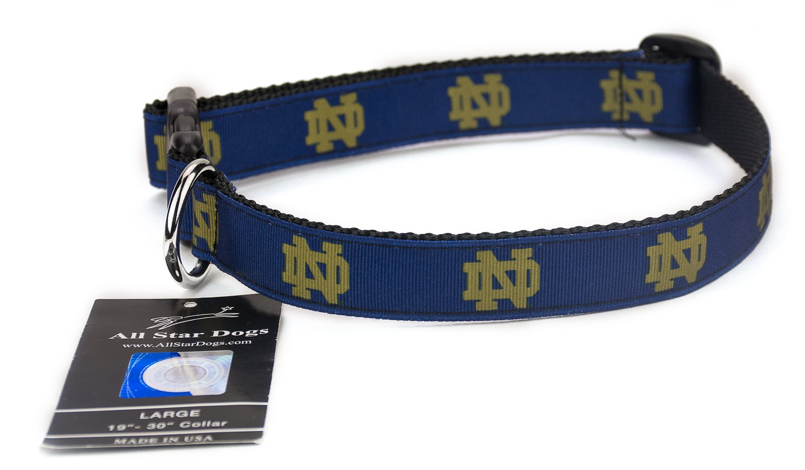 All Star Dogs Notre Dame Ribbon Dog Collar - Large by All Star Dogs (Image #1)