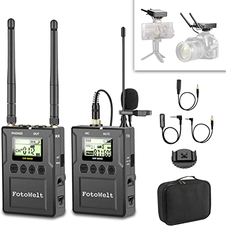 Pixel WM-9 UHF Micrófono Lavalier Inalámbrico microfono Solapa con Tiempo Real Monitor para cámara réflex Digital, videocámara, iOS Smartphone Tablet ...