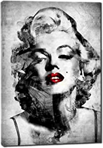 Gray and Red Marilyn Monroe Canvas Wall Art - Paintings for Living room - Wall Pictures for home Decor - Wall Decorations for Bedroom (gray and red)