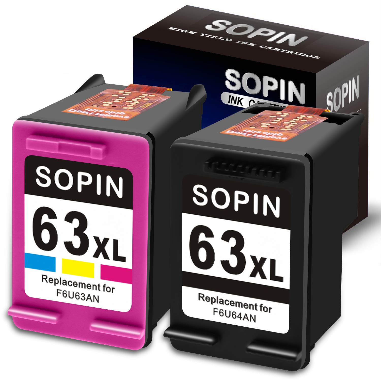 1x Black 1x Color 63XL 63 XL Ink Cartridge Set for HP OfficeJet 5255 5258 Envy