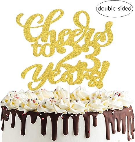 Amazon Com Cheers To 23 Years Cake Topper Twenty Three Years Old