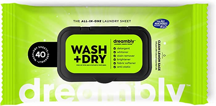 Dreambly Laundry Sheet, Organic, 6 in 1 Detergent, Whitener, Stain Remover, Brightener, Fabric Softener, Anti-Static, 40 Sheets (1 Pack)