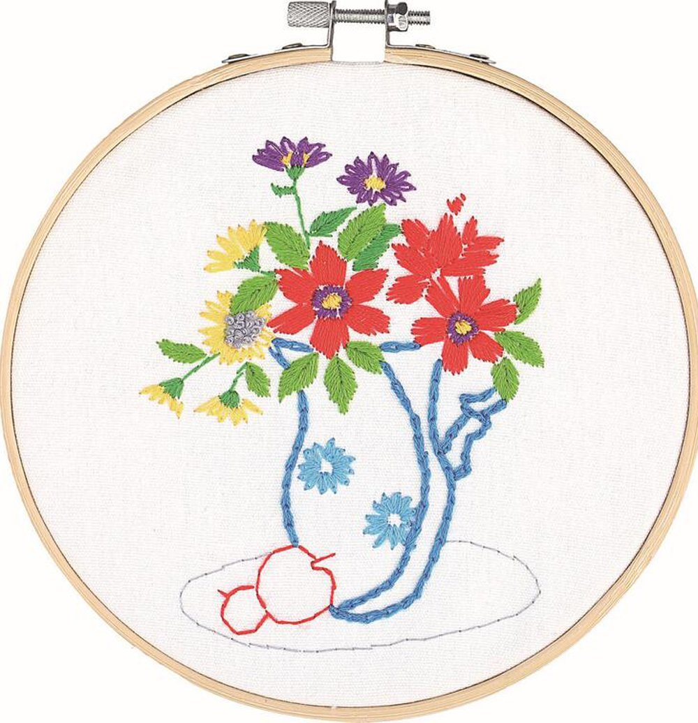 Cross Stitch Stamped Embroidery Kit - Eafior Gardenia Flower Design DIY Beginner Counted Starter Contain Embroidery Hoops Cross Stitch Hoop Circle Set for Art Craft Handy Sewing