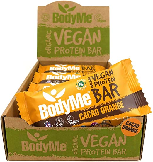 BodyMe Barritas Proteinas Veganas Organica   Crudo Cacao Naranja   12 x 60g Barra Proteina Vegana   Sin Gluten   16g Proteína Completa   3 Proteina ...