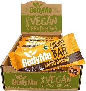 BodyMe Organic Vegan Protein Bar | Raw Cacao Orange | 12 x 60g Vegan Protein Snack Bars | Gluten Free | 16g Complete Protein | 3 Plant Proteins | All Essential Amino Acids | High Protein Vegan Snacks