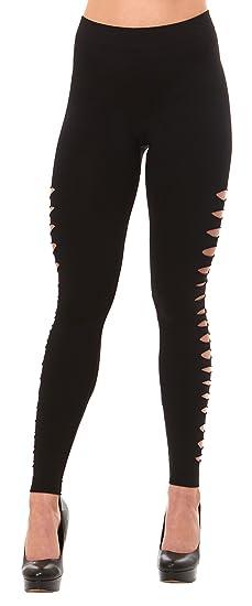 b4c8e4c535886 Just One Women's Leggings Ripped Cutout Side Slashed, Jeans Print ...