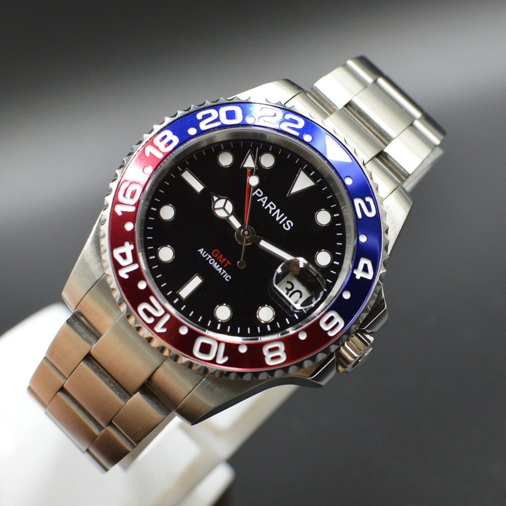 PARNIS 40 mm GMT Rojo Azul Pepsi bisel automático Sapphire reloj: Amazon.es: Relojes
