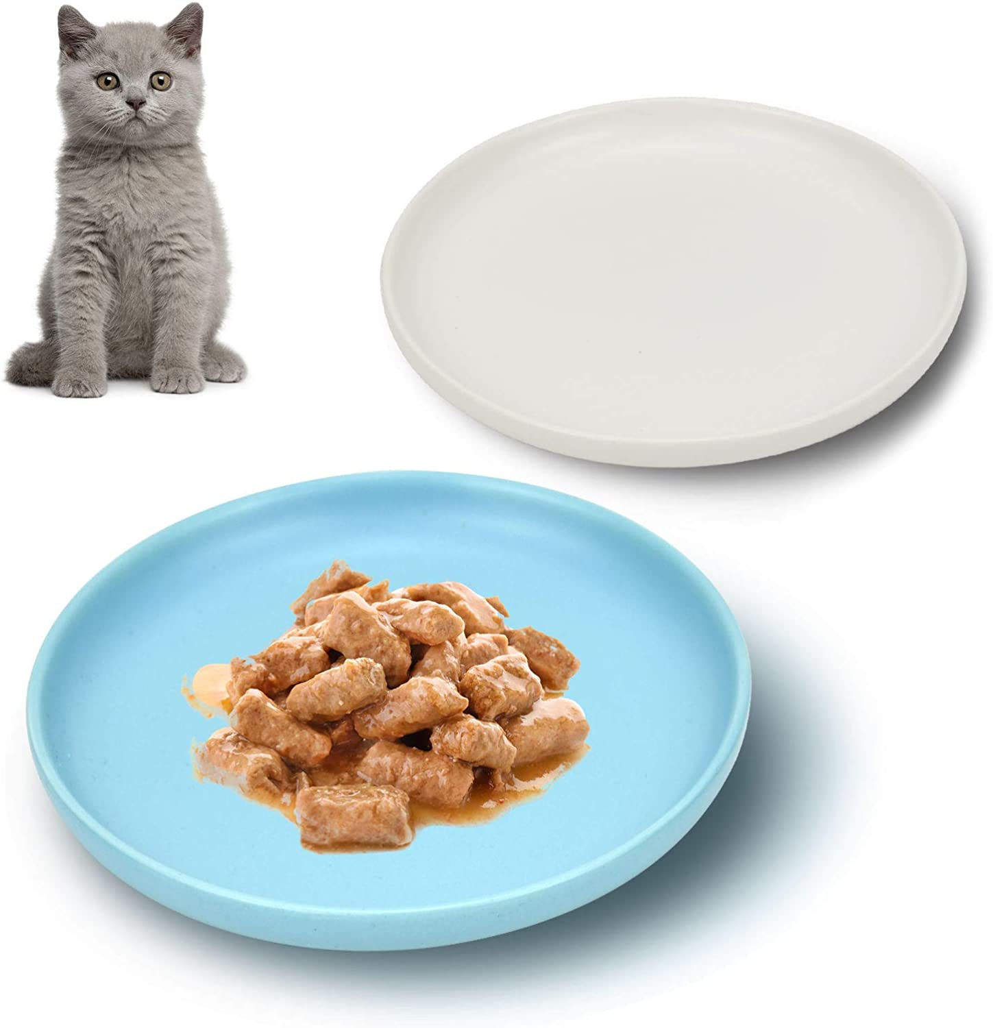 Petdoer Ceramic Cat Dishes, Whisker Fatigue Free Cat Food Bowl, Wide and Shallow Non Slip Pet Plate for Cat, Kitten, Short Legged Munchkin Cat (2 Pack - White & Blue)