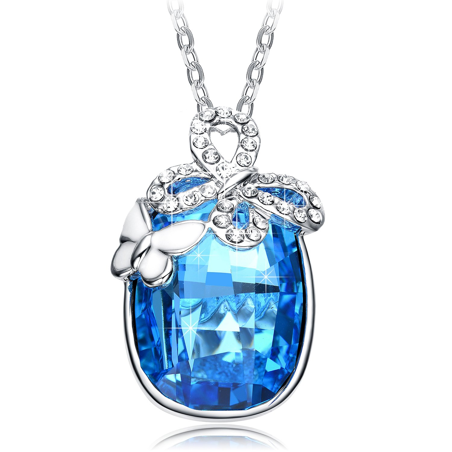 """NEEMODA """"Butterfly Fairy"""" Austrian Crystal Pendant Necklace with Deluxe Gift Box Triple Gold Plated"""