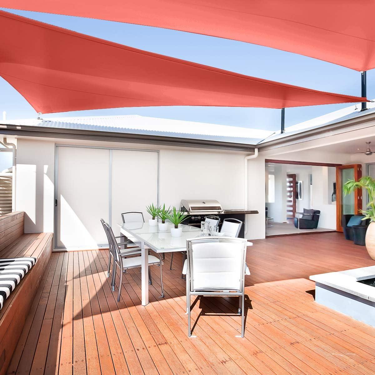 AsterOutdoor Triangle 10 x 10 x 10 Sun Shade Sail Canopy UV Block for Patio Yard Lawn Garden Outdoor Activities Cream