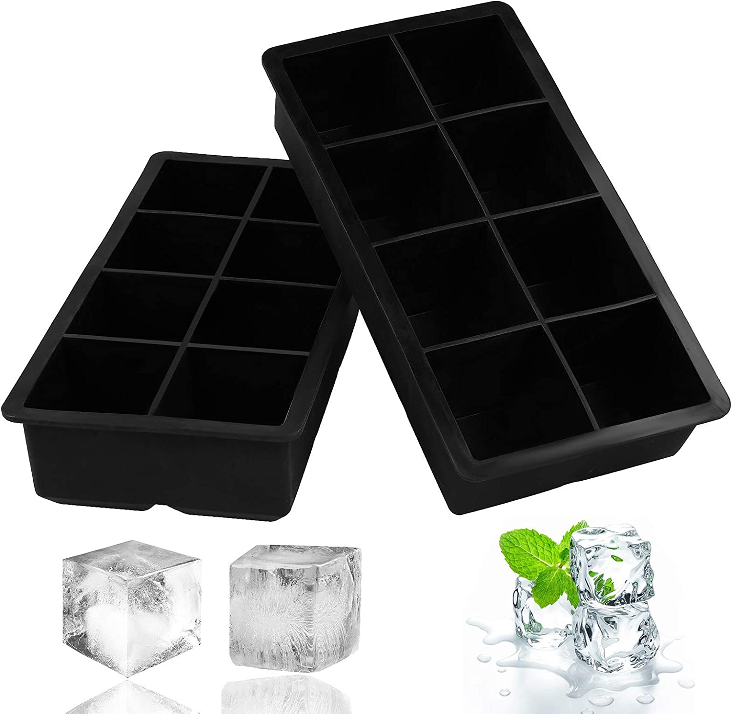 2 PCS Premium Ice Cube Trays, AUSSUA Large Size Silicone Flexible 8 Cavity Ice Maker for Whiskey, Cocktails, Food, Reusable BPA Free Safe Ice Mold, Keep Drinks Chilled(Black)