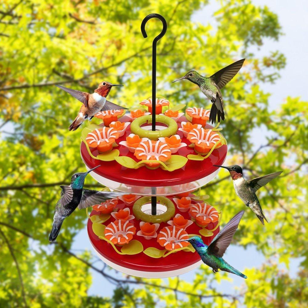 ORIENTOOLS Hummingbirds Feeder Plastic Hanging Bird Flower Feeders, 24 Feeding Stations Anti-ant Moat, 32.8 oz